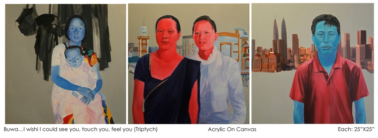 Buwa... I wish I could see you, touch you, and feel you (Triptych) 2015